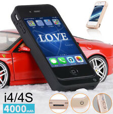 New 4000mAh External power bank Charger pack backup battery case for iphone 4 4s