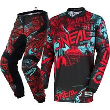 NEW Oneal 2018 MX Element Attack Black Red Teal Jersey Pants Motocross Gear Set