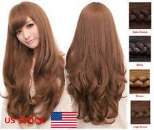 US Fashion Ladies Women Synthetic Long Curly Wavy Cosplay Party Full Hair Wigs