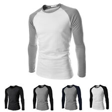 Stylish Men's Casual Slim Fit Long Sleeve Raglan Crew Neck T-shirt Tops S-2XL