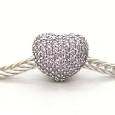 Authentic S925 Sterling Silver Open My Heart Pink CZ Pave Clip Charm Bead