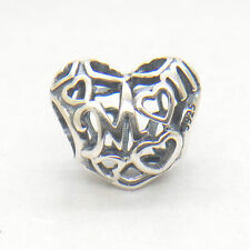 Authentic Genuine S925 Sterling Silver Openwork Mum Love Heart Charm