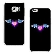 Fashion Heart Angel Wing Plastic Phone Case Cover for iPhone 5 Samsung S7 Frugal