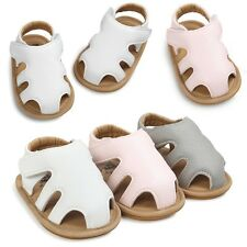 Summer Infant Baby Boys Girls Sandals Anti-Slip PU Leather Shoes Sole Prewalker