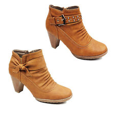 WOMENS LADIES CASUAL COWBOY STYLE MID HIGH CUBAN HEEL ANKLE BOOTS SHOES SIZE 3-8