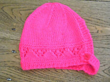 Brand New Hand Knitted Bright Pink Baby Bonnet 0-3 / 3-6 / 6-9 Months