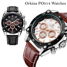 Orkina 42mm Case Movement Leather Band Men's Top Brand Luxury Watch Chronograph