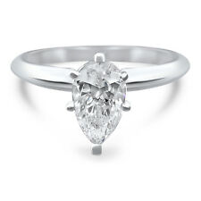 14k White Gold Pear 6mm x 4mm moissanite solitaire engagement ring 6 prong