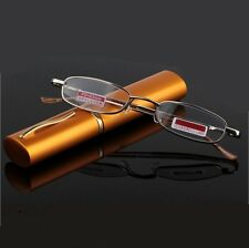 Unisex Metal Frame Alloy Reading Glasses With Tube Case Reader Light Glasses
