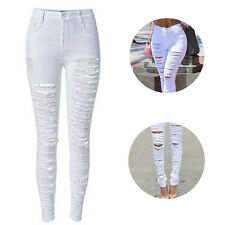 Jeans Sexy Trousers Fashion Women Hot Destroyed Ripped Jeans High Waist Skinny