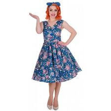 Dolly and Dotty Petal Vintage Floral Swing Dress in Blue