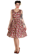 Dolly and Dotty Petal Vintage Floral Swing Dress in Burgundy