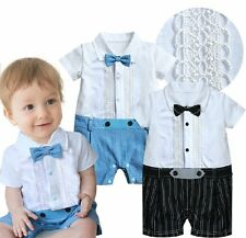 Baby Boy Wedding Christening Formal White Tuxedo Suit Romper Outfit Clothes 3-18