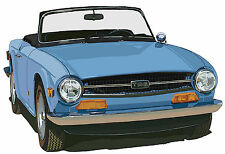 Triumph TR6 sports car canvas art print by Richard Browne blues or red