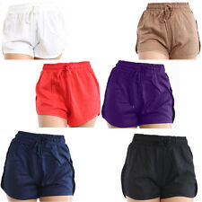 Womens Ladies Linen Viscose Summer Beach Casual Shorts With Smooth Round Edges