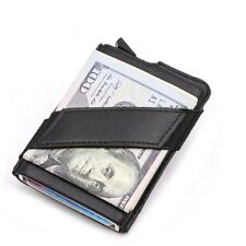 Aluminum Leather Card Holder Wallets Rfid Blocking Wallet Credit Card Protector