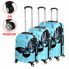 20'' 24'' 28'' ~ Blue Luggage 4 Wheel Spinner Suitcase PC Butterfly For Travel