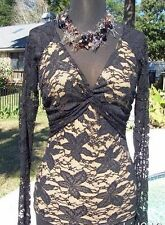 Cache Sheer Illusion Lace Open Back Nude Mesh Front Ruched Top New Stretch $108