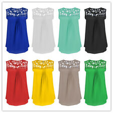 Womens Chiffon Sleeveless Shirt Casual Lace Vest Blouse Loose Ladies Tank Tops