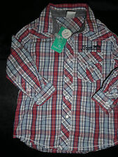 BNWT BOYS SIZE 2 LS BLUE WHITE RED CHECK COLLARED SHIRT ~ NEW