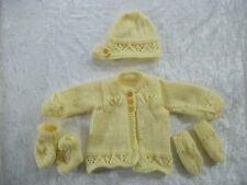 New Baby Cardigan,Hat, Booties Mitten Set Hand Knitted 0-3 / 3-6 / 6-9 Months