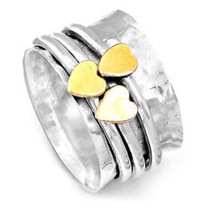 3 Golden Hearts Solid 925 Sterling Silver Spinner Ring Spinning Wide Band