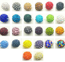 10/50pcs 10mm CZ Crystal Paved Clay Disco Ball Beads for Shamballa Bracelets DIY