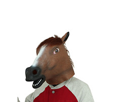 Brown Latex Rubber Horse Head Mask Hooves Gloves Halloween Party Adult Costume
