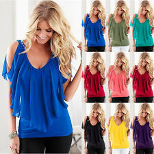 New Womens Cold Shoulder V Neck Chiffon T-Shirt Ladies Summer Casual Tops Blouse
