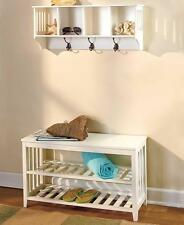 NEW Country Entryway Wall Shelf with Hooks Cubby Shelves Hall Bench Seat