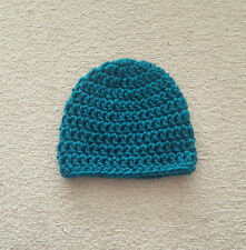 Real Teal Handmade Crochet Baby Hat- Size Newborn or 0-3 Months