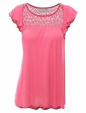 Womens Top AWTTS0181Doublju Loose Fit Ruffle Cap Sleeve Lace Blouse