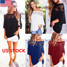 US Women Lace Off Shoulder Crochet Hollow Out Flared Sleeve Blouse Tops Shirts