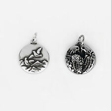 2 x Stainless Steel Dark Silver Tone Charms Wave Sea Seagull Eagle Birds Pendant