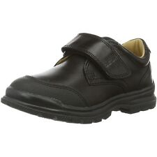 Geox J William A Black Leather Youth School Shoes