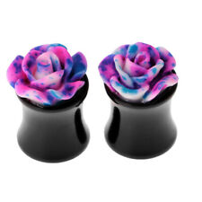 1 Pair Multicolor Acrylic Rose Ear Gauges Plugs Flesh Tunnels Ear Piercing