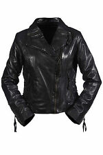Hampton New Ladies Vintage Gothic Real Black Leather Short Retro Biker Jacket