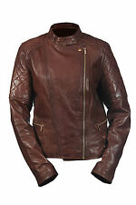 Hampton New Ladies Casual Retro Brown Biker, 100% Leather Quilted Rock Jacket