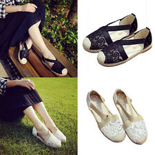 Summer Women Lady Ankle Strappy Lace Hollow Out Flats Espadrilles Sandals Shoes