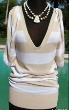 Cache Plunging V Neck Ruched Knit Tunic Top New Sz S/M Banded Bottom Stretch $88