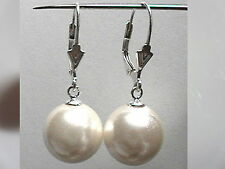 12mm 14mm CREAM WHITE Sea Shell Pearl Dangle EARRINGS LEVERBACK Sterling Silver
