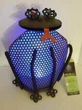 Large Solar Powered Frog Garden Light Blue Metal Upcycled Decoration LED 13""