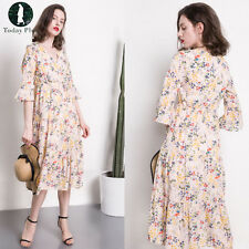 New Women Ladies Floral Print V Neck Long Loose Flare Sleeve Dress Casual Kimono
