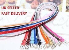 Fashion Cross Buckle Women Girl PU Leather Candy Color Thin Skinny Belt Colorful