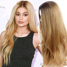 Synthetic Natural Hair Kylie Jenner Long Wavy Ombre Blonde Wig Curly Layers New