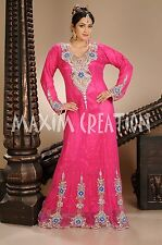 NEW ARABIAN CLOTHS WEDDING GOWN DRESS TAKSHITA JILBAB THOBE FANCY PINK   4263
