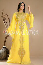 NEW Moroccan Yellow Georgette Kaftan GOLD Embroidery Dubai Abaya Maxi Dress 3845