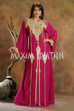 NEW Moroccan Maroon Georgette Kaftan GOLD Embroidery Dubai Abaya Maxi Dress 3431