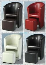 Stylish Faux Leather Tub Chair with Matching Footstool Home Office Conservator