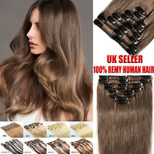 UK 8 Piece Clip In Remy Human Hair Extensions Full Head 100% Real Hair Extension